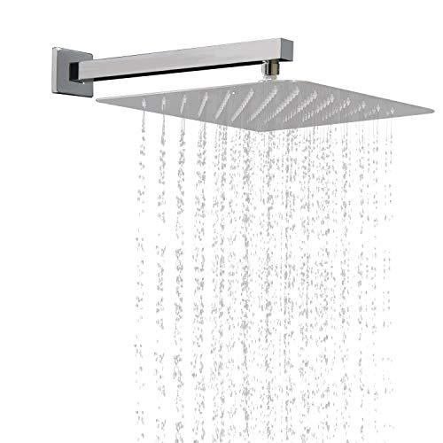 Acefy Regendusche wand Arm Edelstahl Duschkopf Quadratisch und Brausearm Wandarm Duscharm Quadratisch 40cm