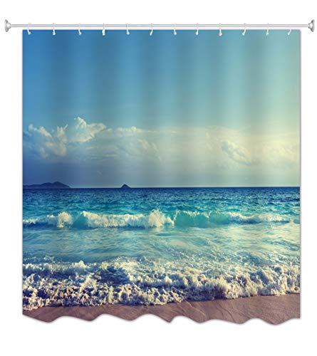 """A.Monamour Blauer Ozean Meer Strand Bewölkter Himmel Meer Natur Tropische Landschaft Druck Polyester Stoff Duschvorhang Für Bad 180X200 cm / 72"""" X78"""