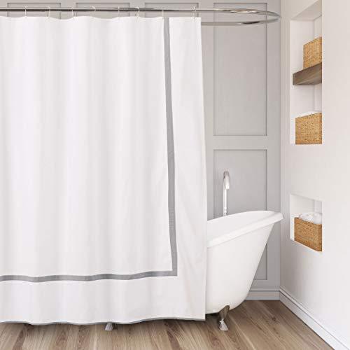 Lamont Home Vorhang für die Dusche, 100% Baumwolle, Weiß/Grau, One Size