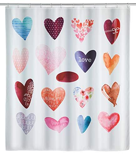 WENKO Duschvorhang Love, Textil-Duschvorhang fürs Badezimmer, inkl. Ringen zur Befestigung an der Duschstange, waschbar, 100 % Polyester, 180 x 200 cm, mehrfarbig