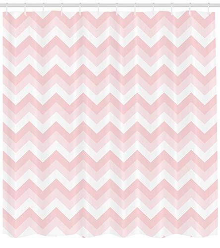 Abakuhaus Duschvorhang, Simples Digitales Symmetrisches Zick Zack Muster in Rosa Pink Feminin Minimalistisches Druck, Blickdicht aus Stoff inkl. 12 Ringen Umweltfreundlich Waschbar, 175 X 200 cm