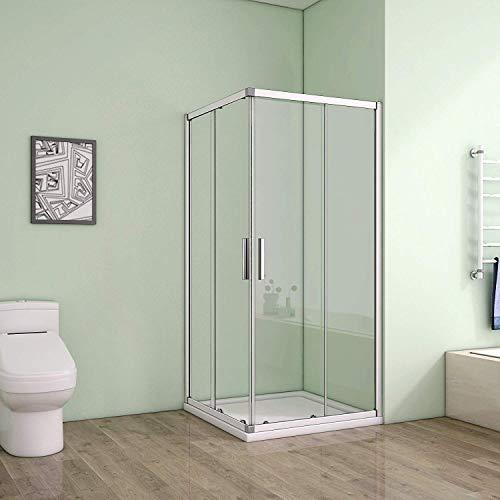 Duschkabine Eckeinstieg 90x90cm Duschabtrennung Dusche Schiebetür Duschwand 5mm ESG Sicherheitsglas Höhe 185cm