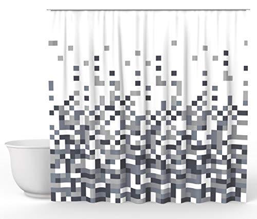 Vilenia Home Premium Duschvorhang im Mosaik-Muster - Badewannenvorhang mit wasserdichter Oberfläche - 180 cm x 200 cm - antibakterieller Schutz für den Vorhang - Edles Design