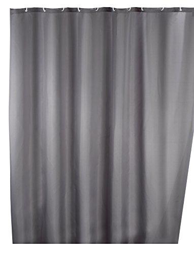 Wenko 20044100 Anti-Schimmel Duschvorhang Uni Grey - Anti-Bakteriell, waschbar, mit 12 Duschvorhangringen, Polyester, 200 x 180 cm