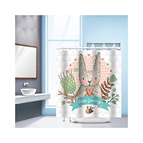 SonMo Duschvorhang Karikatur Hase Polyester Mehrfarbig Digitaldruck Wasserdicht Anti-Schimmel Anti-Bakteriellbad Vorhang für Badewanne Badezimmer mit Duschvorhangringen 240×180CM