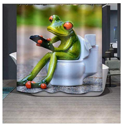 Chengsan Duschvorhang mit Motiv Porzellanfrosch auf der Toilette, 175,3 x 177,8 cm, schimmelresistentes Polyestergewebe, Polyester-Mischgewebe, #1, 71x71 inch