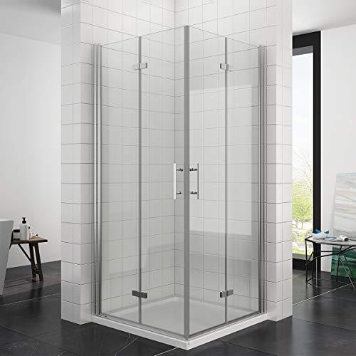 Duschkabine 90x90 Eckeinstieg Falttür Duschabtrennung Duschtür Eckdusche Duschwand aus Sicherheitsglas