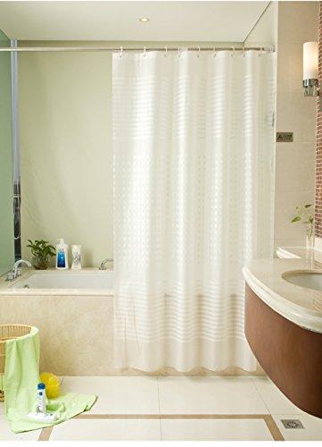 Moderne Einfach Stil Vertikale Streifen Weiß Extra Lang PEVA Duschvorhang 260 x200 cm Wasserdicht und Anti-Schimmel Entwurf Badezimmer mit 12 Duschvorhang Ringe ShowPower Nr.1011