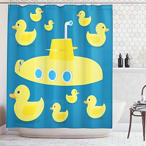 Abakuhaus Duschvorhang, Enten die im Meer Einem Gelben Unterseeboot Schwimmt Kinderfreundlich Klasischer Muster Druck, Blickdicht aus Stoff mit 12 Ringen Waschbar Langhaltig Hochwertig, 175 X 200 cm