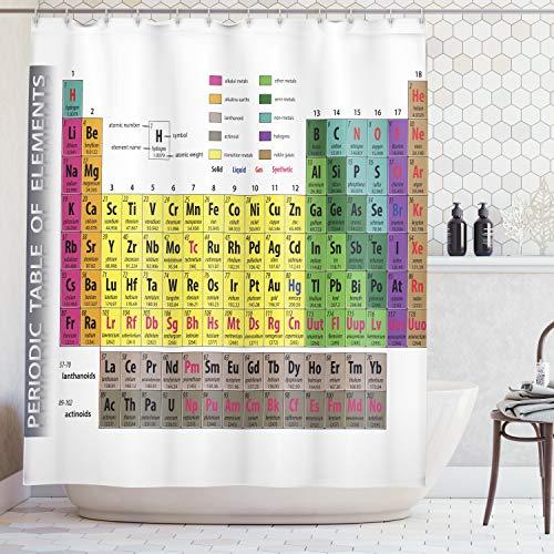 Abakuhaus Duschvorhang, Mehrfarbig Periodentafel der Elemente Geek Nerd Periodensystem Atome Elektronen Bild Druck, Wasser und Blickdicht aus Stoff mit 12 Ringen Bakterie Resistent, 175 X 200 cm