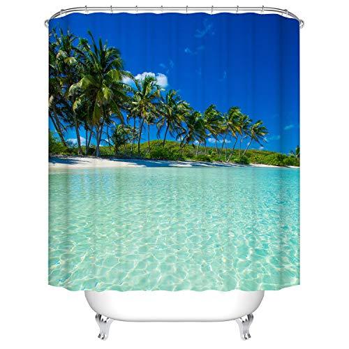 Hot-Sun-Seestern Badezimmer Duschvorhang, Anti-Schimmel 100% Polyester Badewanne Duschvorhänge, 3D Effekt und Digitaldruck, Wasserdicht mit 12 weißen Haken, 180 x 180cm