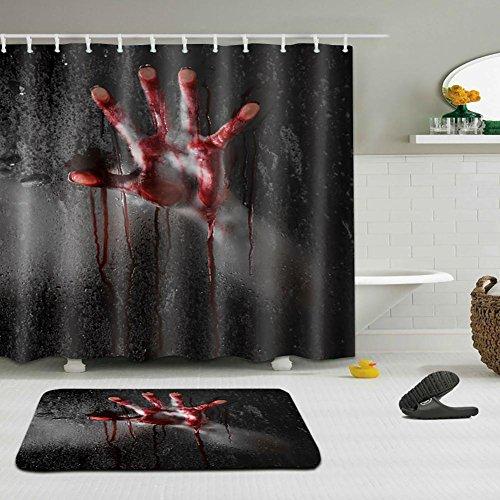 LNAG Anti-Schimmel Duschvorhang Anti-bakterieller Vorhang für die Dusche inkl 11-12 Duschvorhangringen Blut Hand , 180*180