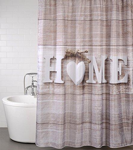 Duschvorhang Home 180 x 180 cm, hochwertige Qualität, 100% Polyester, wasserdicht, Anti-Schimmel-Effekt, inkl. 12 Duschvorhangringe