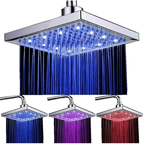 LED Duschkopf viereckig 20cm Temperatur Control 3 Farbwechsel Wasser Flow Powered Top Sprühduschkopf ABS Chrome Finish 12 LEDs für Badezimmer
