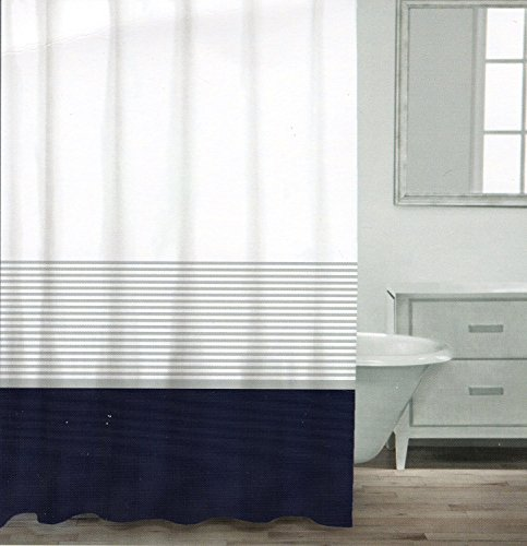 CARO Home 100% Baumwolle Vorhang für die Dusche breit Stripe Stoff Duschvorhang, gestreift weiß silber Navy Türkis Grau nautischen Stil, baumwolle, marineblau, 72Lx72W