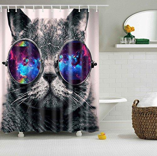 Misslight Wasserfest Duschvorhang bunte Baum Hai Tier Krake Katze Seestern Badezimmer Anti-Schimmel-Effekt Polyester Bad Vorhang wasserdicht mit Haken Digital gedruckt (Katze)