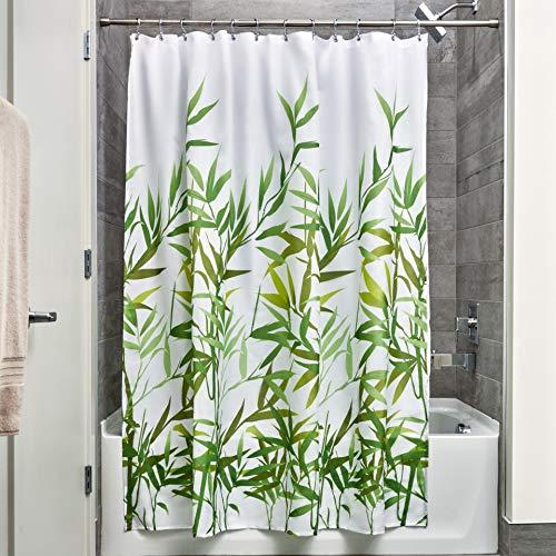 iDesign Anzu Duschvorhang | waschbarer Duschvorhang in 183,0 cm x 183,0 cm | mit floralem Duschvorhang Motiv | Polyester grün