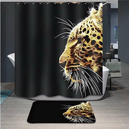 hoomall schwarz Leopard Wasserdicht Bad Duschvorhang Liner Stoff für Badezimmer 180x 180cm