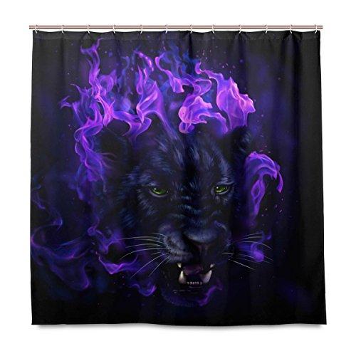 Yibaihe Dusche Vorhänge Panther Kopf in Flammen Polyester Stoff Gedruckt Schimmelresistent Wasserdicht für Badezimmer Badewanne, 12Haken 183x 183cm