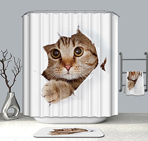 Unimall Duschvorhang für Badezimmer Badvorhang Antischimmel Anti-Bakteriell wasserdicht süße Katze 180 x 200 cm