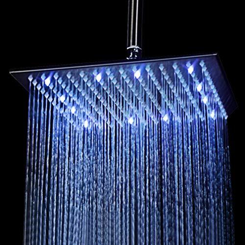 KAIBOR 40 * 40cm Luxus LED Regendusche Einbau-Duschkopf Deckenbrause Quadrat Überkopfbrause Farbewelchseln nach Temperatur