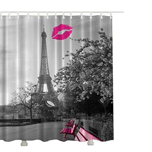 Eanshome Vintage Paris Eiffelturm Rote Blume Ideen Bad Wasserdicht Duschvorhang