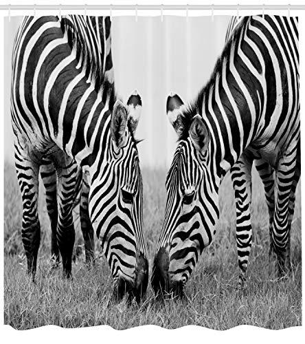 Abakuhaus Duschvorhang, Nationalpark und Zebras Afrika Wildleben Schwarz-Weiß Foto Bild Monochrome Effekt Print Druck, Wasser und Blickdicht aus Stoff mit 12 Ringen Schimmel Resistent, 175 X 200 cm