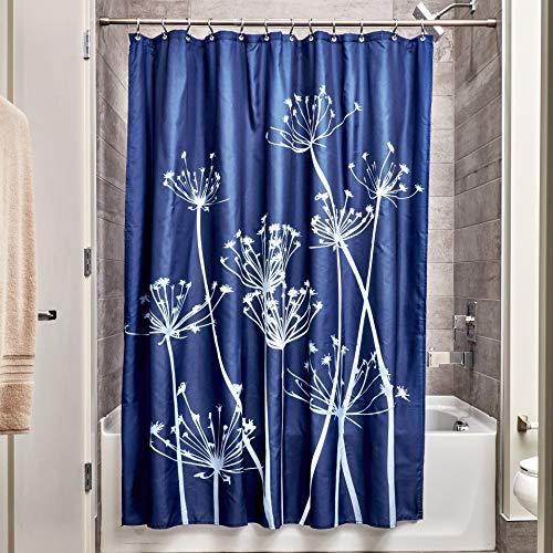 iDesign Thistle Duschvorhang   183,0 cm x 183,0 cm großer Badewannenvorhang   waschbarer Duschvorhang aus weichem Stoff   mit Blumen-Motiv   Polyester marineblau/schiefer