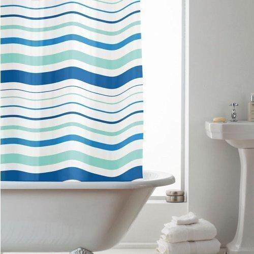 Beam Feature By Home Discount Duschvorhang, gestreift, Kunststoff, 180cm lang, mit 12 C-förmigen Ringen, Blau