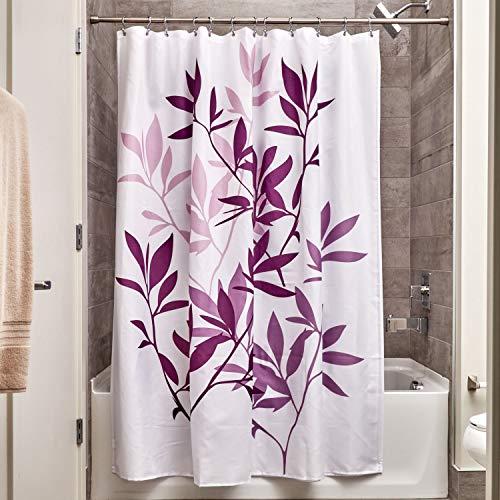iDesign Leaves Duschvorhang | Designer Duschvorhang in der Größe 183,0 cm x 183,0 cm | schickes Duschvorhang Motiv mit Blättern | Polyester violett