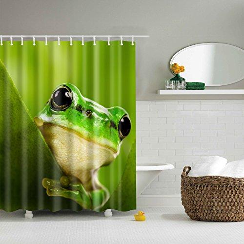 5Größe Polyester Digitaldruck Tier Serie Duschvorhang Badvorhang Anti-Schimmel Wasserdicht ohne Haken für Heim und Hotel Decor (180*200cm, #4 Grüne Füße Frösche)