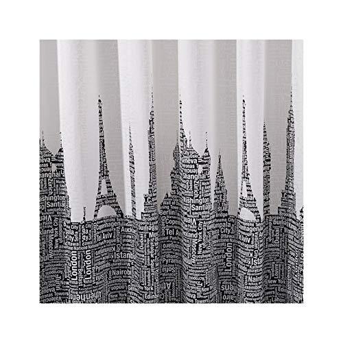 SonMo Duschvorhang Hochhaus Brief Polyester Grau Anti-Bakteriell Wasserdicht Anti-Schimmelbadewanne Vorhang mit Duschvorhangringen 120×200CM