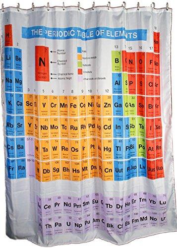 Kamaca Duschvorhang Periodensystem DER Elemente mit 12 x Ösen - hygienisch - stilvoll und elegant - 180 x 180 cm