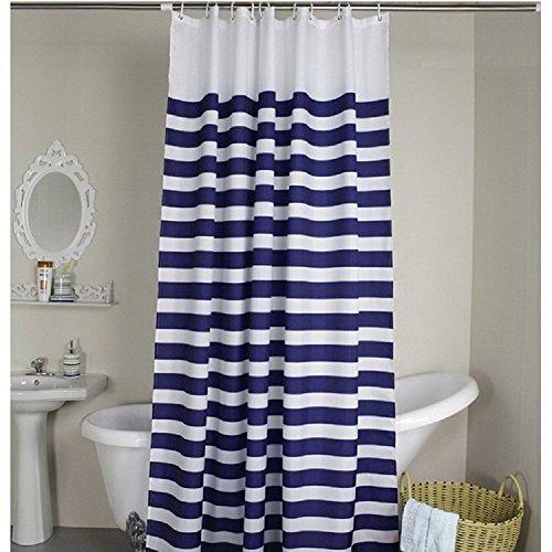 Weare Home Modern Stil Blau und weiß Kreuz Streifen Wasserdicht Schimmelfest Polyester Stoff Duschvorhang, wasserdicht, Anti-Schimmel-Effekt, Kunststoff-Duschvorhang, 12 Haken zum Aufhängen,180cm x 180cm (B x H).