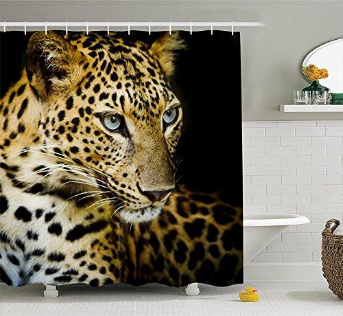 Wasserdichter Schimmel Polyester Duschvorhang mit Haken -Leopard 180x180cm (03)