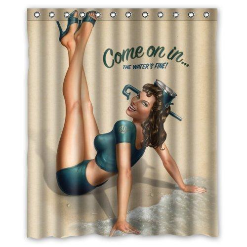 """RETRO PIN UP GIRL, """"COME ON Custom Duschvorhang, Polyester, wasserdicht, inkl. Ringe 152.40 cm x 182.88 cm"""