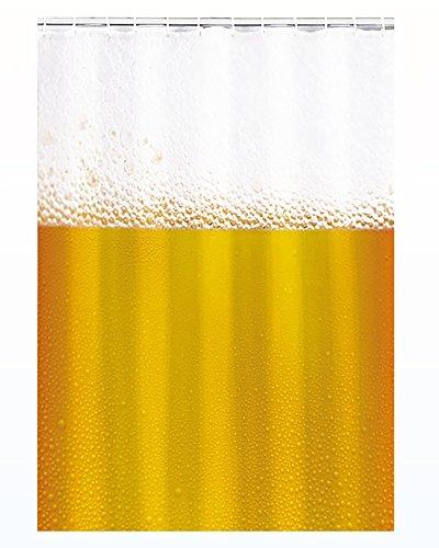Kamaca Duschvorhang Bier/Beer, sanft fallender Duschvorhang Bereits inkl. 12 x Ösen, in schöner Geschenk - Packung, Duschvorhang mit Tollem Motiv - 100% Polyester