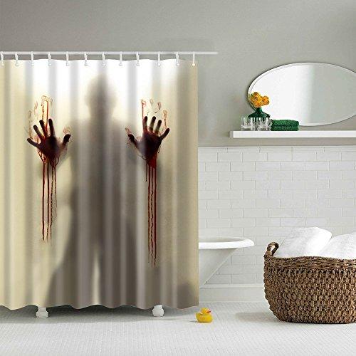 MORESAVE Gedruckt Duschvorhang Scary Blutige Hände Helfen Sie mir Bad Wasserdichte Duschvorhang, 180 x 180