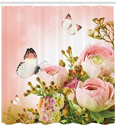 Abakuhaus Duschvorhang, Rösener Rosen Blütenknospe Schmetterlinge Pink Leben Positivität Erweckend Lavandel Levkoje Rosa, Wasser und Blickdicht aus Stoff mit 12 Ringen Schimmel Resistent, 175 X 200 cm