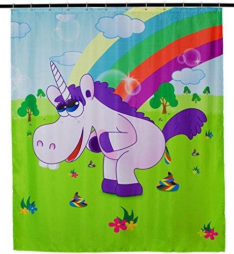 Grinscard Duschvorhang mit Comic Motiv - Bunt Drunky Unicorn Design 200 x 180 cm - Dusch-Vorhang als Geschenkidee