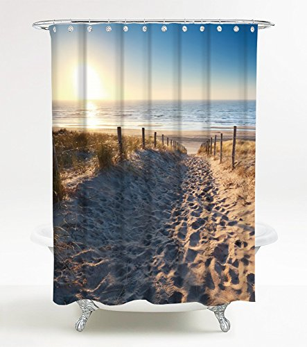 Duschvorhang Düne 180 x 180 cm, hochwertige Qualität, 100% Polyester, wasserdicht, Anti-Schimmel-Effekt, inkl. 12 Duschvorhangringe