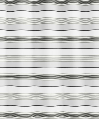 Kleine Wolke 5143120305 Duschvorhang Stripes, 180 x 200 cm, grau