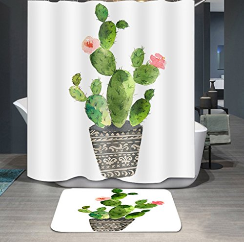Ommda Duschvorhang Textil Wasserdicht Duschvorhang Anti-schimmel Pflanzen Digitaldruck Waschbar mit 12 Duschvorhang Ring 100x180cm(Keine Matten) Topfpflanzen