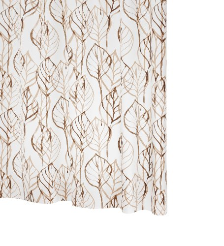 RIDDER 32618S-350 Duschvorhang Folie ca. 180 x 200 cm, Leaves braun inklusive Ringe