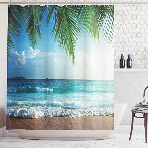 ABAKUHAUS Duschvorhang, Ozean Palmen Meer auf Einer Tropische Insel Strand Dekorativ Hochauflösendes Fotografie Druck, Blickdicht aus Stoff inkl. 12 Ringen Umweltfreundlich Waschbar, 175 X 200 cm