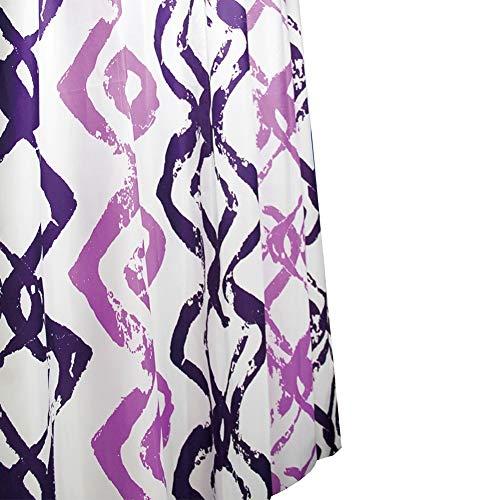 Design Duschvorhang / Badewannenvorahng in der Farbe Weiss / Lila / 100 % Polyester / 180 x 200 cm / Waschbar