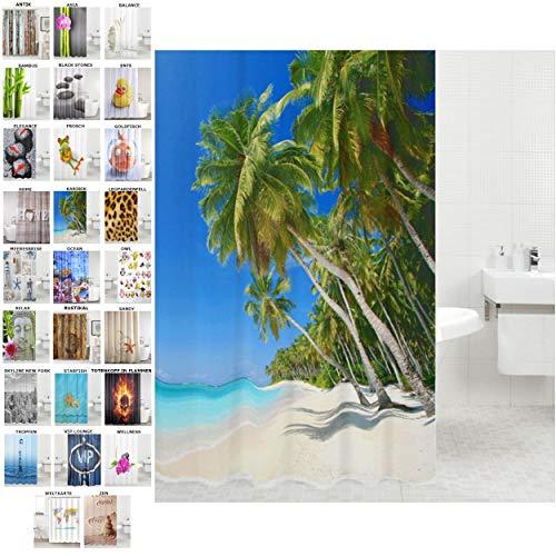 Duschvorhang, viele schöne Duschvorhänge zur Auswahl, hochwertige Qualität, inkl. 12 Ringe, wasserdicht, Anti-Schimmel-Effekt (Karibik, 180 x 200 cm)