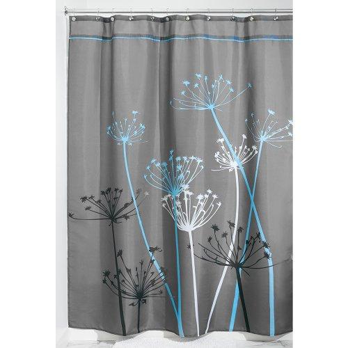 InterDesign Thistle Duschvorhang mit Blumen-Motiv, Stoff, grau/blau, 180,0 cm x 200,0 cm