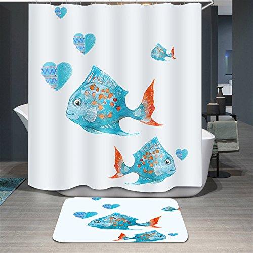 Ommda Duschvorhang Textil Wasserdicht Duschvorhang Anti-schimmel Tier Digitaldruck Waschbar mit 12 Duschvorhang Ring 100x200cm(Keine Matten) Fisch