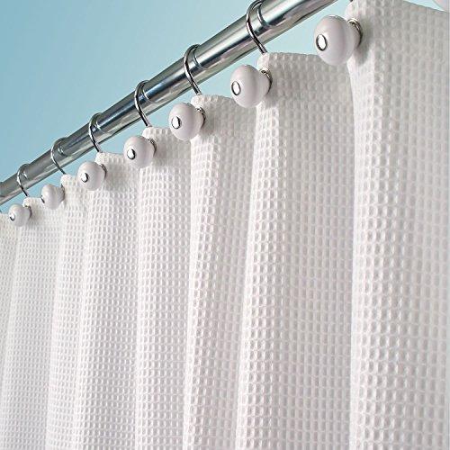 mDesign Luxus Duschvorhang Baumwollmischgewebe – mit 183 x 183 cm ideal als Badewannenvorhang – Textil-Duschvorhang mit 3D-Muster – weiß